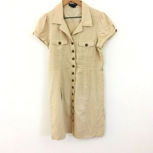 Boston Proper Button Front Linen Shirt Dress 12